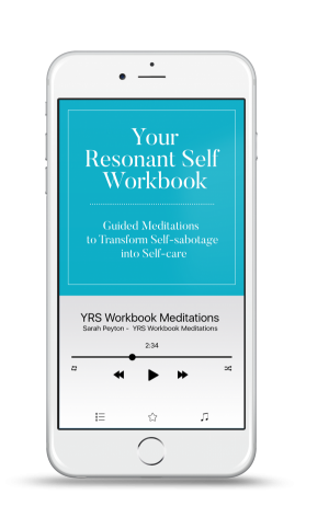 phone playing YRS Workbook guided meditations